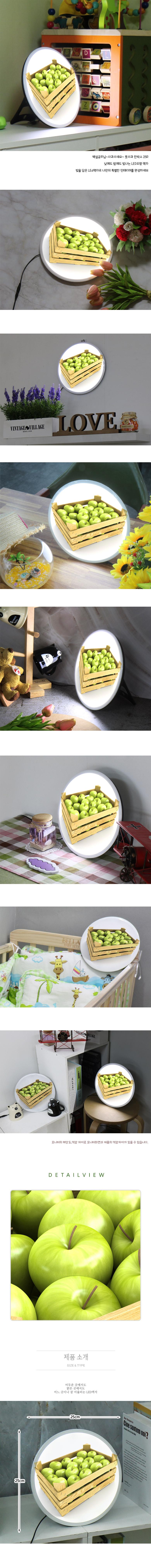 LED액자25R_풋사과한박스 - 꾸밈, 48,000원, 포인트조명, 터치조명