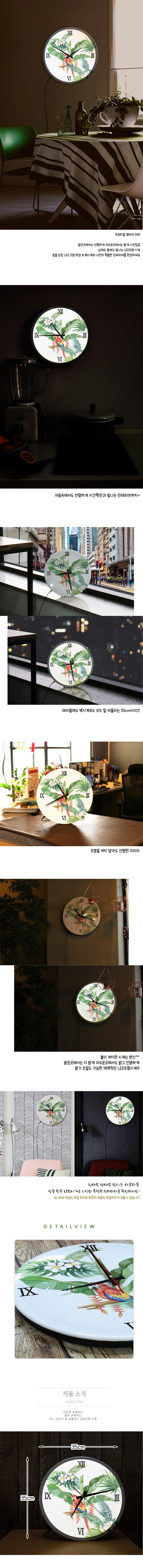 LED시계액자35R_트로피컬앵무새 - 꾸밈, 50,400원, 벽시계, 디자인벽시계